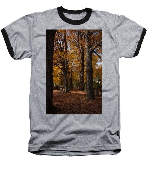 Baseball T-Shirt featuring the photograph Golden Rows Of Maples Guide The Way by Jeff Folger