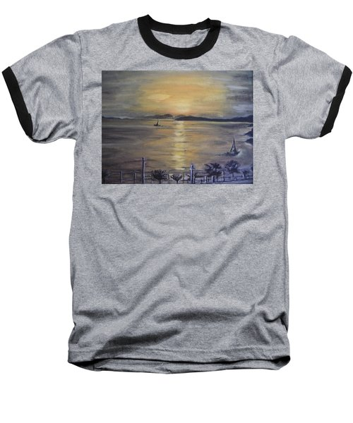 Baseball T-Shirt featuring the painting Golden Sea View by Teresa White