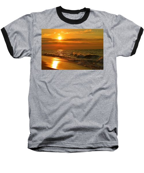 Golden Sunrise Colors With Waves And Horizon Clouds On Navarre Beach Baseball T-Shirt by Jeff at JSJ Photography