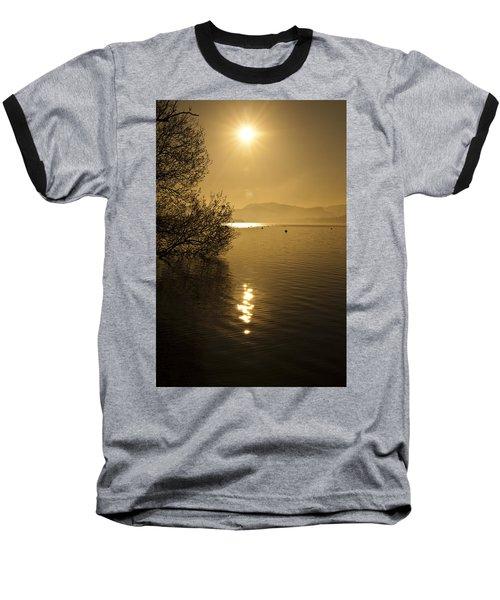 Golden Ullswater Evening Baseball T-Shirt by Meirion Matthias