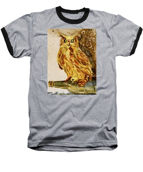 Baseball T-Shirt featuring the painting Goldene Bier Eule by Beverley Harper Tinsley