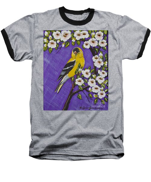 Baseball T-Shirt featuring the painting Goldfinch In Pear Blossoms by Jennifer Lake