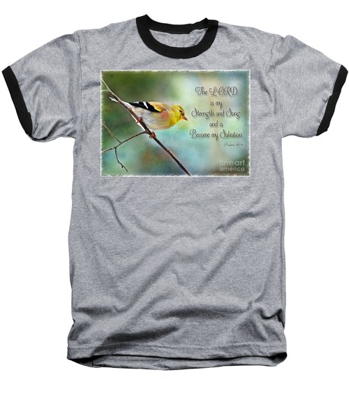 Goldfinch With Rosy Shoulder - Digital Paint And Verse Baseball T-Shirt