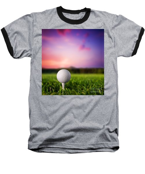 Golf Ball On Tee At Sunset Baseball T-Shirt