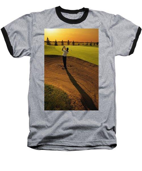 Golfer Taking A Swing From A Golf Bunker Baseball T-Shirt