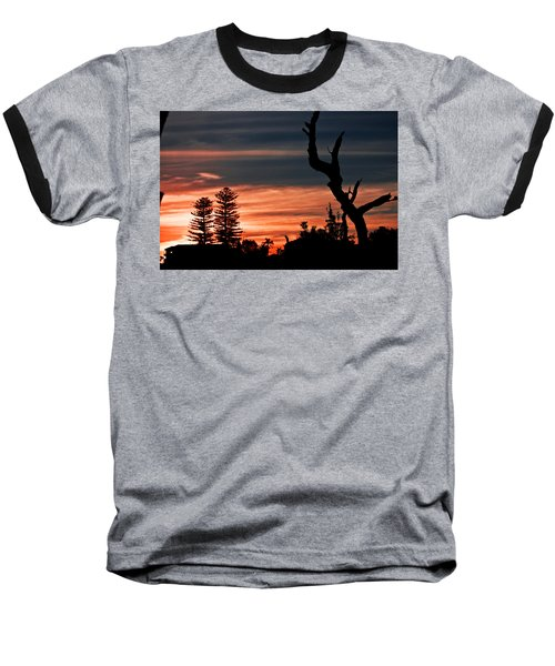 Good Night Trees Baseball T-Shirt by Miroslava Jurcik