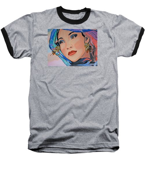 Gorgeous Lady With Beautiful Earrins Baseball T-Shirt by Phyllis Kaltenbach
