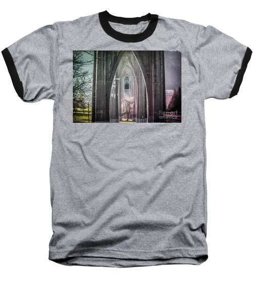 Gothic Arches Hands Folded In Prayer Baseball T-Shirt