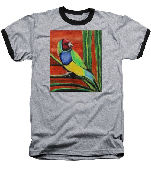 Baseball T-Shirt featuring the painting Gouldian Finch by Jeanne Fischer
