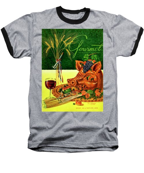 Gourmet Cover Featuring A Pig's Head On A Platter Baseball T-Shirt