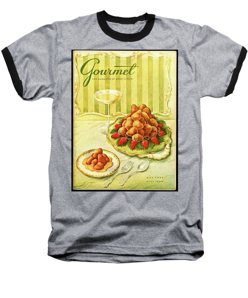 Gourmet Cover Featuring A Plate Of Beignets Baseball T-Shirt