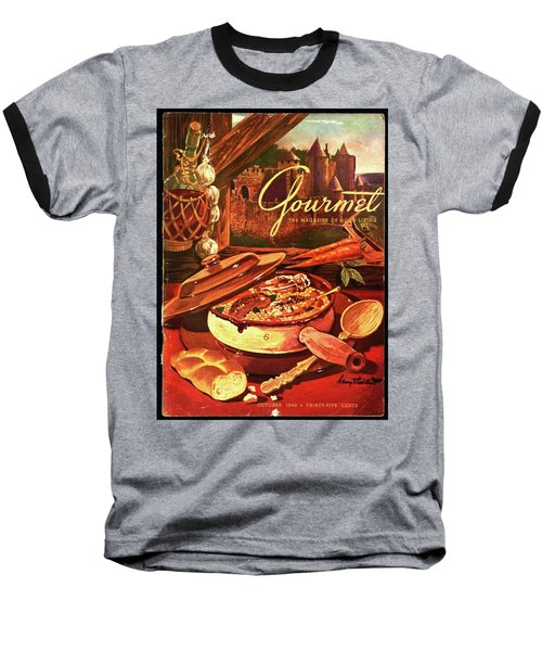 Gourmet Cover Featuring A Pot Of Stew Baseball T-Shirt