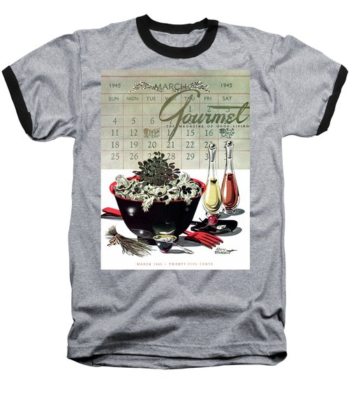 Gourmet Cover Illustration Of A Bowl Of Salad Baseball T-Shirt