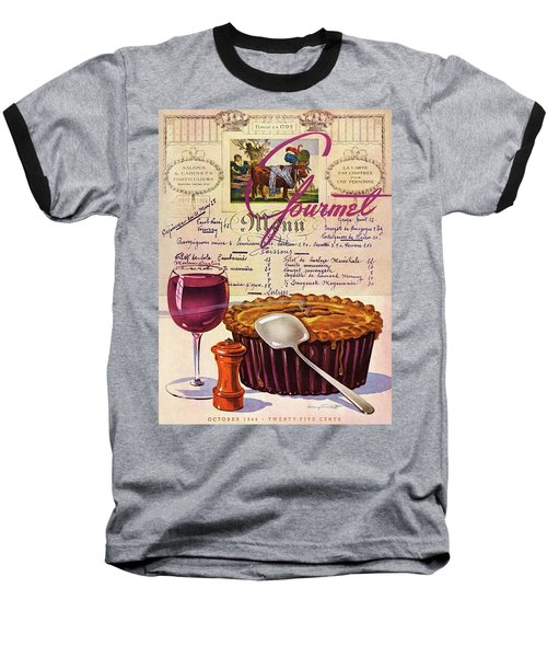 Gourmet Cover Illustration Of Deep Dish Pie Baseball T-Shirt