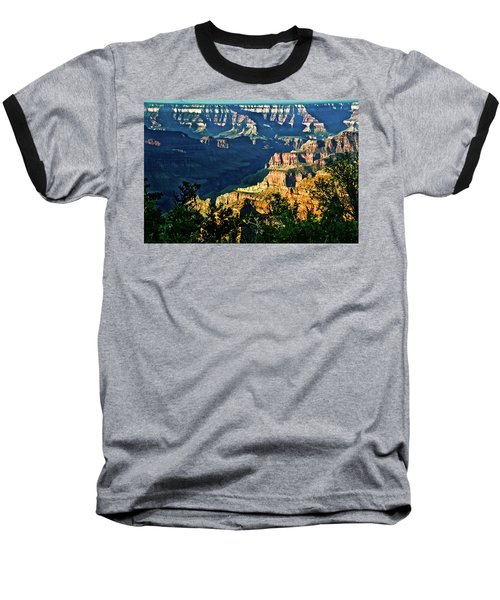 Baseball T-Shirt featuring the photograph Grand Canyon  Golden Hour On Angel Point by Bob and Nadine Johnston