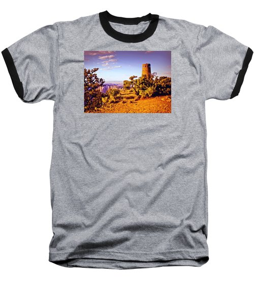 Baseball T-Shirt featuring the painting Grand Canyon National Park Golden Hour Watchtower by Bob and Nadine Johnston