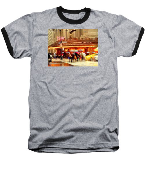 Grand Central Station In The Rain - New York Baseball T-Shirt by Miriam Danar