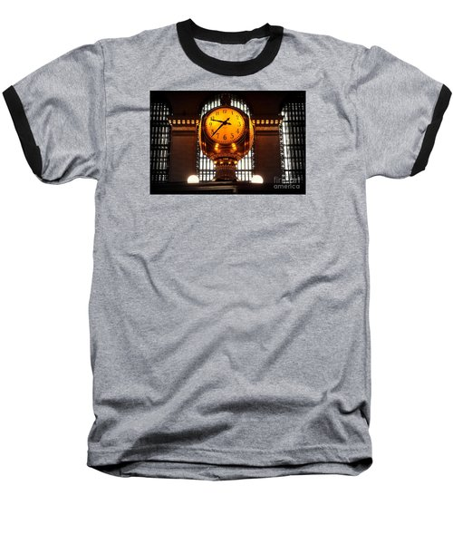 Grand Old Clock At Grand Central Station - Front Baseball T-Shirt by Miriam Danar