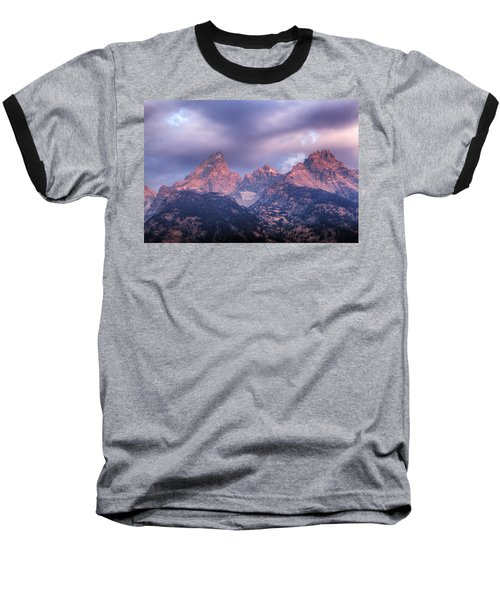 Baseball T-Shirt featuring the photograph Grand Teton In Morning Clouds by Alan Vance Ley