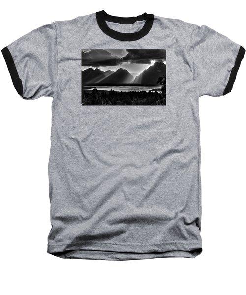 Grand Teton Light Beams Baseball T-Shirt by Aidan Moran