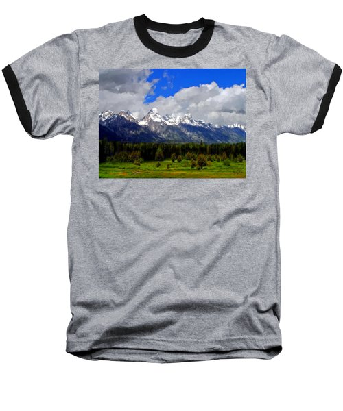 Grand Teton Mountains Baseball T-Shirt by Bruce Nutting