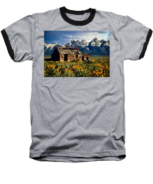 Grand Tetons Cabin Baseball T-Shirt by John Haldane