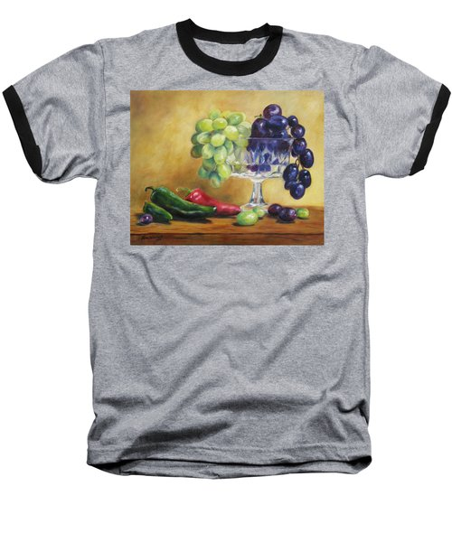 Grapes And Jalapenos Baseball T-Shirt by Lori Brackett