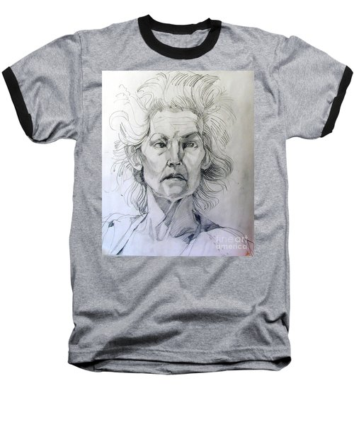 Baseball T-Shirt featuring the drawing Graphite Portrait Sketch Of A Well Known Cross Eyed Model by Greta Corens
