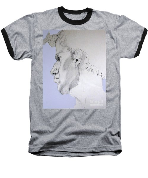 Baseball T-Shirt featuring the drawing Graphite Portrait Sketch Of A Young Man In Profile by Greta Corens