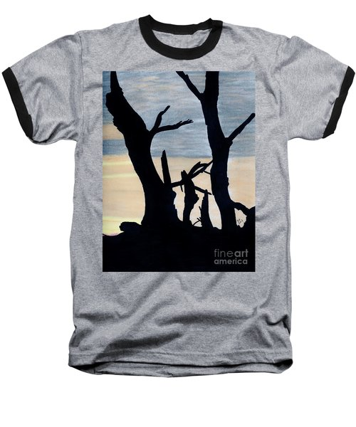 Baseball T-Shirt featuring the drawing Gray Sunset by D Hackett