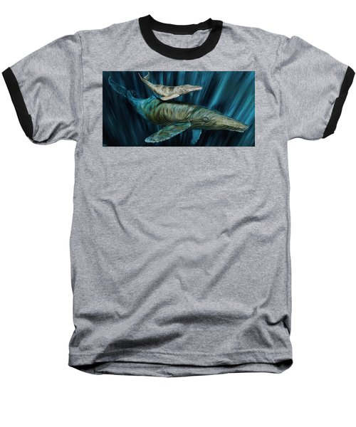 Graywhale Momma And Calf Baseball T-Shirt by Steve Ozment