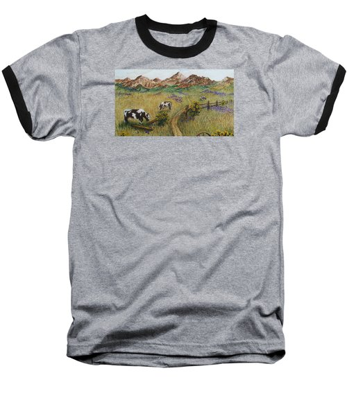 Grazing Cows Baseball T-Shirt by Katherine Young-Beck