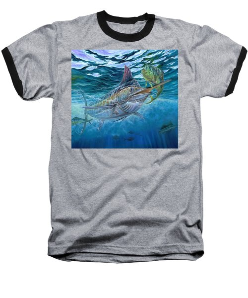 Great Blue And Mahi Mahi Underwater Baseball T-Shirt