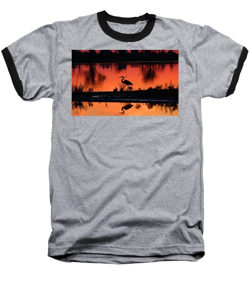 Great Blue Heron At Sunrise Baseball T-Shirt by Allan Levin