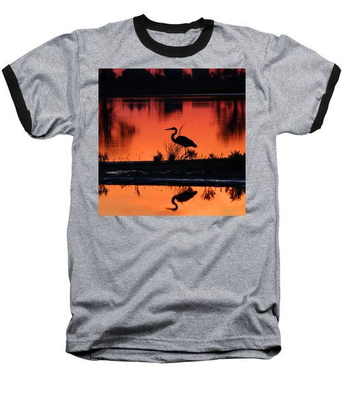 Great Blue Heron At Sunrise Baseball T-Shirt