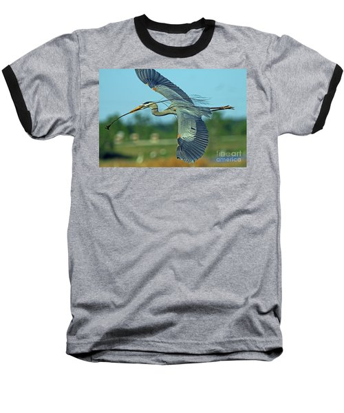 Great Blue Heron Flight 2 Baseball T-Shirt
