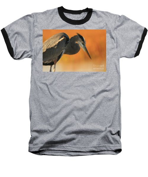 Great Blue Heron Focus Baseball T-Shirt