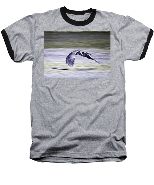 Great Blue Heron In Flight Baseball T-Shirt by John Haldane