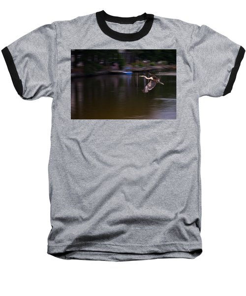 Great Blue Heron In Flight Baseball T-Shirt