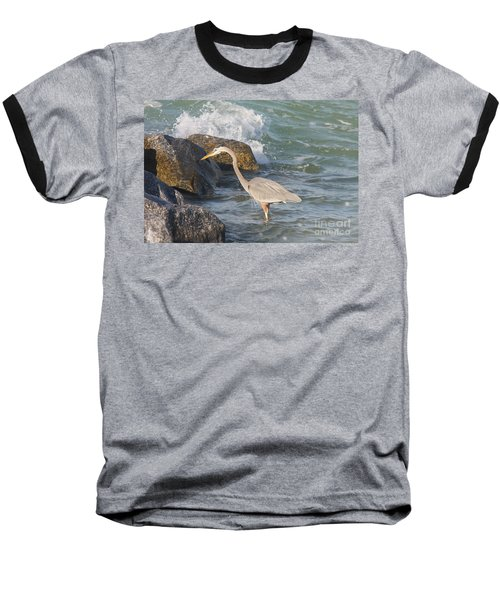 Great Blue Heron On The Prey Baseball T-Shirt by Christiane Schulze Art And Photography