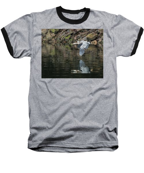 Great Blue Heron Reflections Baseball T-Shirt