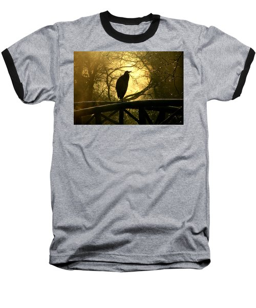 Great Blue Heron Silhouette Baseball T-Shirt by Brian Chase