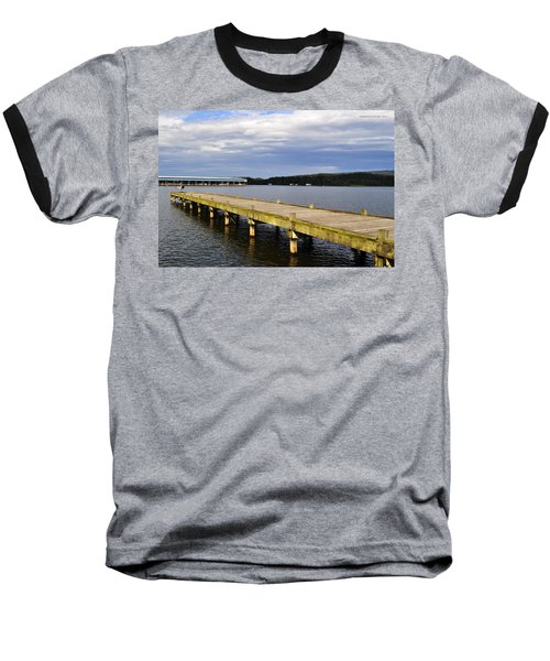 Great Blue Heron Sunning On The Dock Baseball T-Shirt