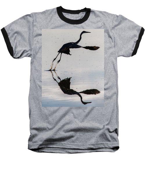 Great Blue Heron Takeoff Baseball T-Shirt