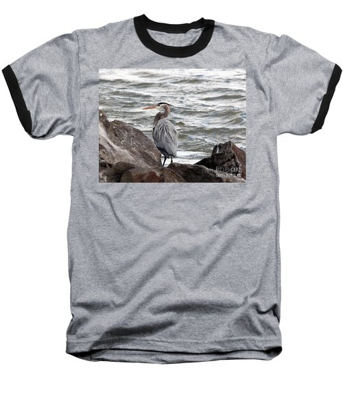 Baseball T-Shirt featuring the photograph Great Blue Heron by Trina  Ansel