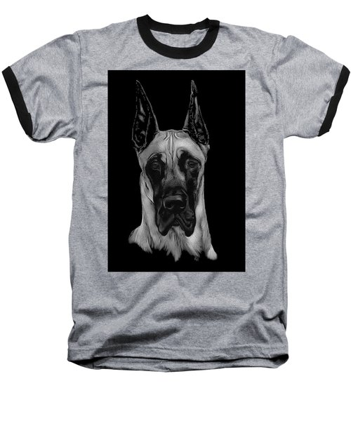 Baseball T-Shirt featuring the drawing Great Dane by Rachel Hames