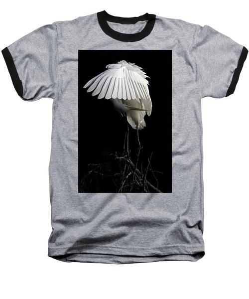 Great Egret Bowing Baseball T-Shirt