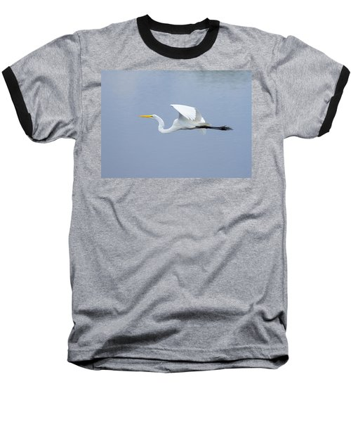 Baseball T-Shirt featuring the photograph Great Egret In Flight by John M Bailey