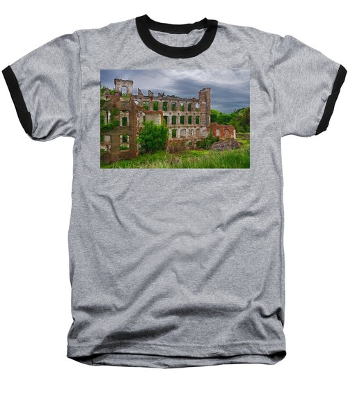 Great Falls Mill Ruins Baseball T-Shirt by Priscilla Burgers