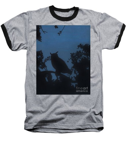 Baseball T-Shirt featuring the drawing Owl At Night by D Hackett